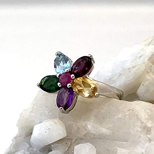 (Size 6.75, Genuine Ruby and 5 Natural Multi-Gemstones, 14k White GOLD and 925 Sterling Silver, Multicolor Flower Ring (1.5cm) Fine Jewelry Gift for Women and Girls, FREE Swan Gift Box.)