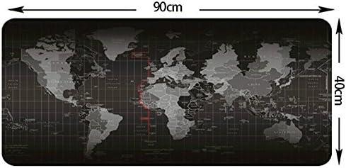 Alfombrilla para ratón con mapa del mundo para juegos, 90 x 40 cm, 80 x 30 cm, 70 x 30 cm, alfombrilla de escritorio grande con mapa del mundo con base de