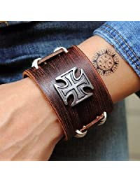 Jirong Antique Men's Brown Leather Cuff Bracelet, Leather Wrist Band Wristband Handcrafted Jewelry Sl2257