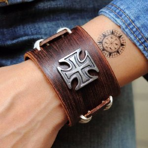 Jirong Antique Men's Brown Leather Cuff Bracelet, Leather Wrist Band Wristband Handcrafted Jewelry Sl2257 COOLLA