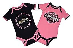 Harley-Davidson Baby Girls \'GRANDMA Rides\' 2-Pack Romper (9-12 Months)