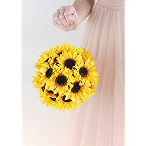 """Floral Home Artificial Sunflower Kissing Ball in Yellow - 7"""" Wide - Set of 2 38"""