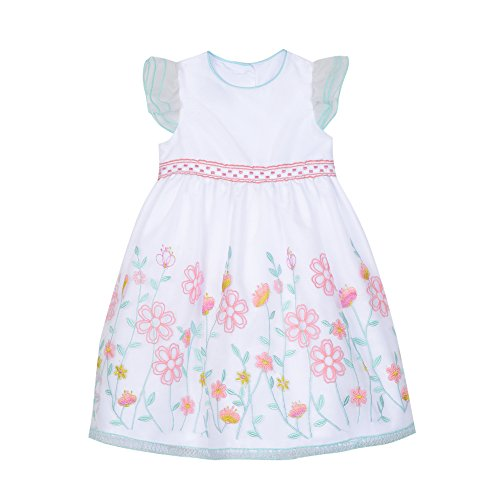Laura Ashley London Toddler Girls' Oragnza Dress with Embroidered Border, Pink Pastels, 3T -