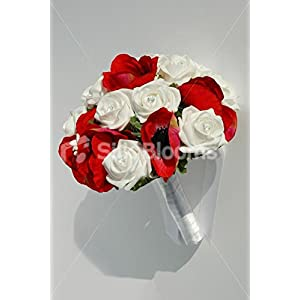 Bright Bridesmaid Red Anemone, White Rose Bouquet w/ Crystals 5