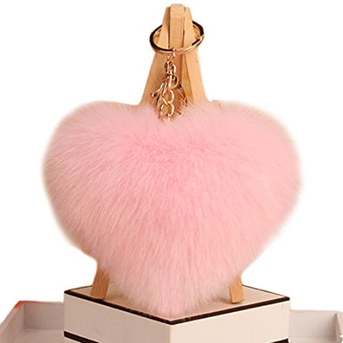 Heart Pink Key (Freedi Pom Pom Keychain Heart Faux Fur Ball Cute for Car Key Ring Handbag Pendant Decor)