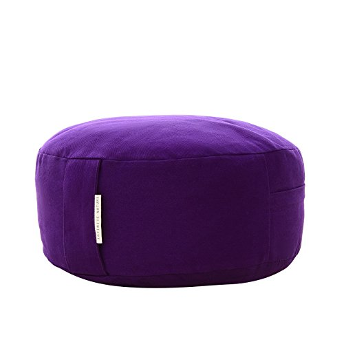 Yoga Meditation Cushion Zafu With Buckwheat Fill - Organic Cotton - Color Purple.