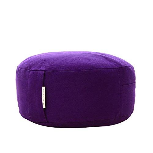 Yoga Meditation Cushion Zafu With Buckwheat Fill - Organic Cotton - Color Purple.