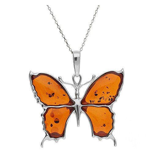 COGNAC BALTIC AMBER & STERLING SILVER 925 butterfly DESIGN PENDANT. (Amber Butterfly Necklace)