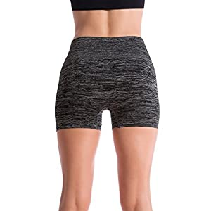 Homma Women's Seamless Compression Heathered Active Yoga Shorts Running Shorts Slim Fit (small, H.Black)