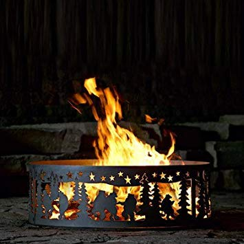 P&D Metal Works Campfire Fire Ring w Dancing Bear Design - Solid Steel (48 in. Dia.) by P&D Metal Works