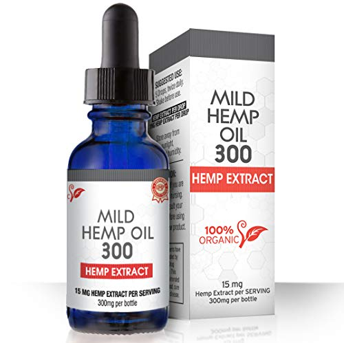 Hemp Oil for Pain, Anxiety & Stress Relief – 300mg – 100% Organic Hemp Extract Drops – Natural Anti-Inflammatory, Joint…