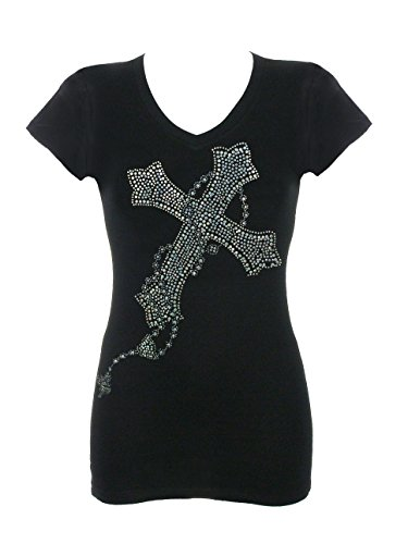 DivaDesigns Women's Gorgeous Multi Celtic Cross Rhinestone Bling T-Shirts 2X