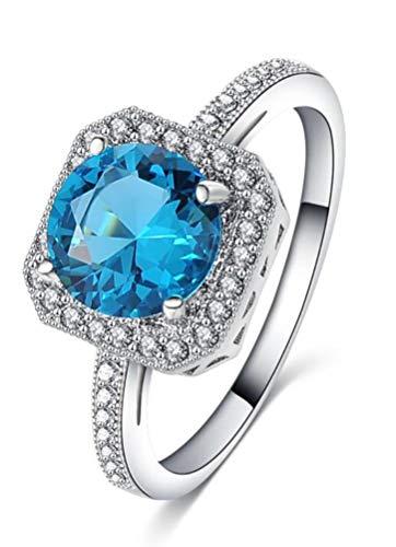 TEMEGO London Blue Topaz Ring,Thin Rings for Women,14k Silver Simulated Diamond CZ Half Eternity -