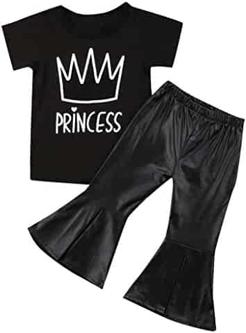 ab4d4a79 Hatoys Toddler Baby Kids Girls Letter Print Tops+ Bell-Bottoms Pants 2Pcs Sets  Outfits