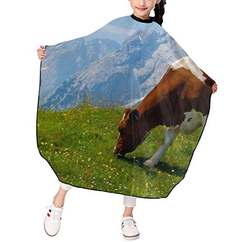 MJhair Cute Jersey Cow Kids Haircut Barber Cape for Hair Cutting Professional Home Salon Hairdressing Smock Cover
