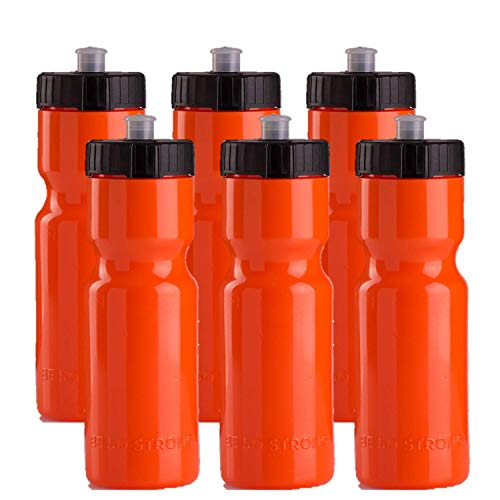 50 Strong Sports Squeeze Water Bottle Team Pack - 6 Bottles - 22 oz. BPA Free Easy Open Push/Pull Cap - Made in USA y Orange Black ()