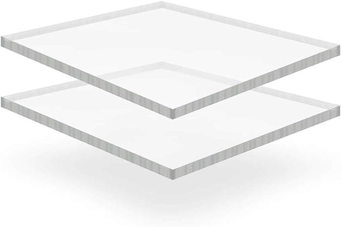 tidyard Pack de 2 Láminas de Vidrio Acrílico Transparente,Resistente a Los Impactos y a los Rayos UV,40x60cm,Grosor 15mm: Amazon.es: Hogar