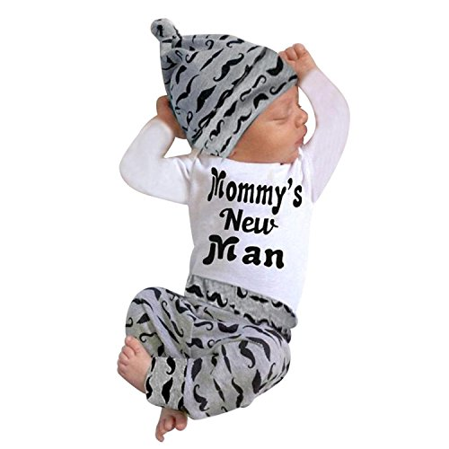 Younger Tree 3PCs Infant Toddler Baby Boy Clothes Outfit Mommy's New Man Print Sweatshirt Tops + Pants + Cap Set (White, 0-6 m)]()