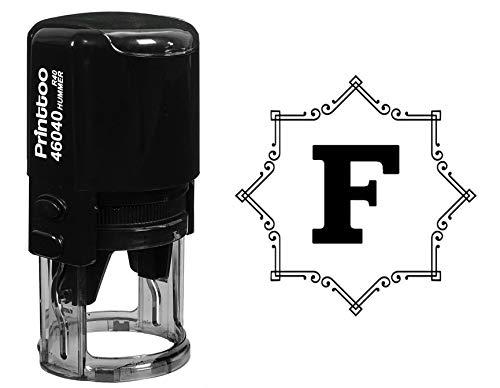 Printtoo Octagon Celtic Swirl Frame Alphabet F Monogram R-40 Self Inking Rubber Stamp Office Stationary ()