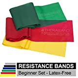 TheraBand Resistance Bands Set, Professional Non-Latex Elastic Band For Upper & Lower Body Exercise, Strength Training without Weights, Physical Therapy, Lower Pilates, Rehab, Beginner & Advanced
