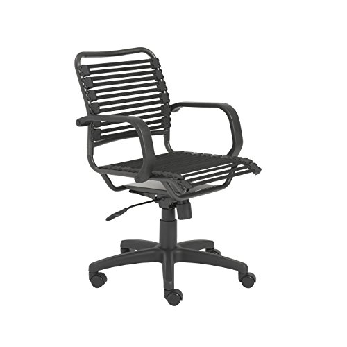 Euro Style Flat Bungie Mid Back Adjustable Office Chair with Arms, Black Bungies with Graphite Black Frame