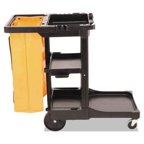 Rubbermaid Computer Carts - Multi-Shelf Cleaning Cart, 3-Shelf, 20w x 45d x 38-1/4h, Black