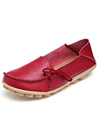 Fisca Women's Causal Belt Moccasins Loafer Flat Shoes