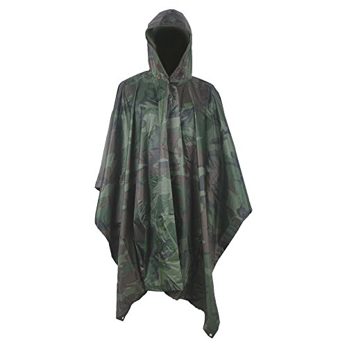 (LOOGU Military Camouflage Waterproof Rain Poncho for Adults(Woodland Camo))
