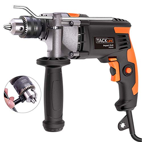 TACKLIFE Upgraded 7.1Amp/3000Rpm 1/2-Inch(13mm) Corded Hammer Drill with Aluminium Alloy Cover, Metal Rotating Handle, Variable Speed Trigger,Rotary Hammer, Ideal Tool for DIY – PID03A