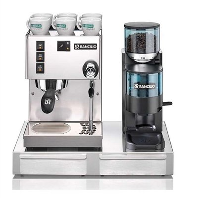 Rancilio Silvia M V5 and Rocky Bar Combo with Base