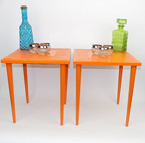 Pair Mosaic Tile End Tables Nightstands MCM Orange