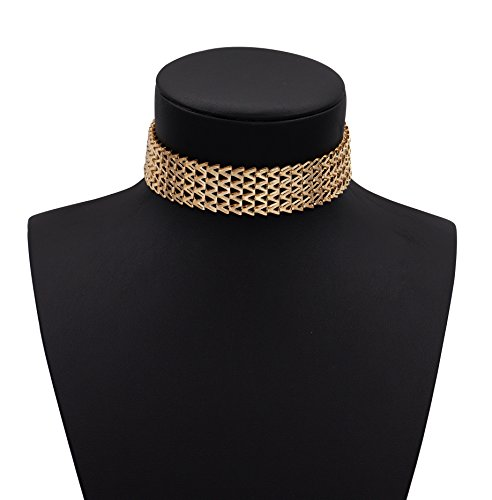 Costume Jewelry Choker - Geerier Thick Golden Metal Choker Necklace Adjustable Chain For Women