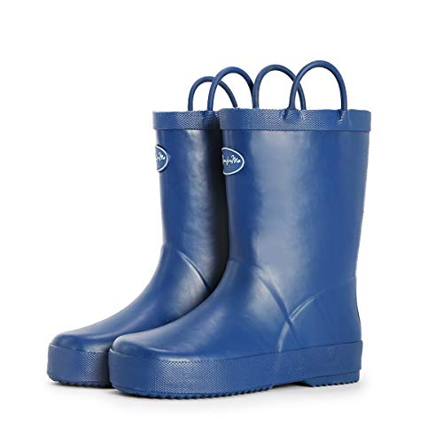 yellow and navy rain boots - 8