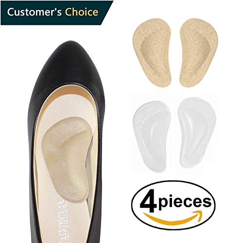 Medical Arch Support Insoles for Flat Feet Arch Support Gel Foot Cushions High Arch Cushions Shoe Insoles Women & Men Shoe Inserts for Foot Pain Relief, Skin+Clear Color (Dr Rosenbergs Instant Arches Sandal Arch Supports)