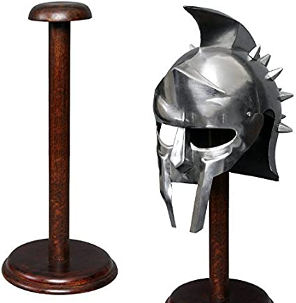 Amazon Com Medieval Warrior 17 Solid Wood Display Stand For Medieval Helmet Roman Viking Helm Round Base Sports Outdoors