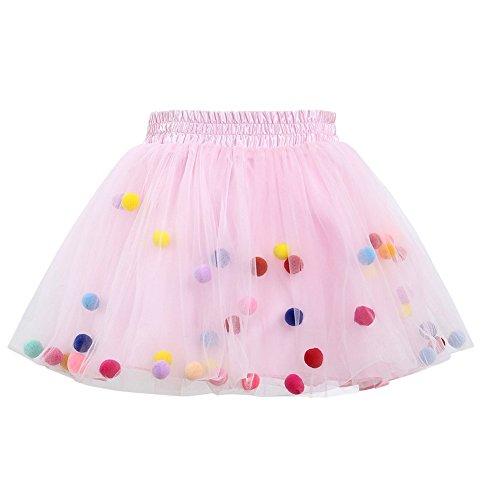 3f73dbbaa98bc QIAONAI 女の子 チュチュスカート ガールズ チュールスカート TUTU キッズ 子供用 ダンス衣装 可愛い カラフル ポンポン