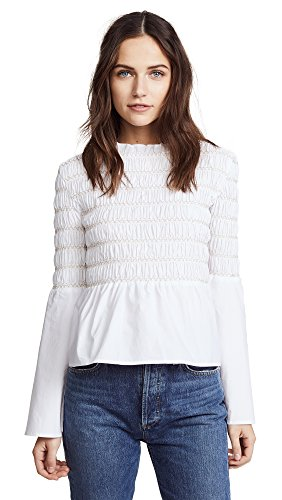 endless rose Women's Smocked Poplin Top, Off White, Small by endless rose (Image #1)