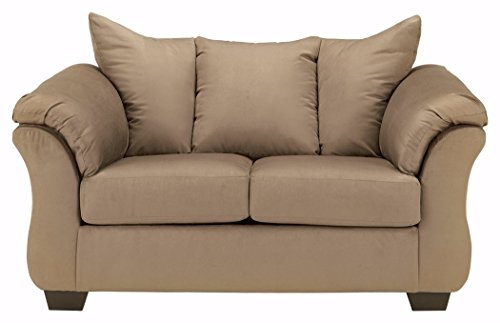 Ashley Furniture Signature Design – Darcy Love Seat – Contemporary Style Microfiber Couch – Mocha