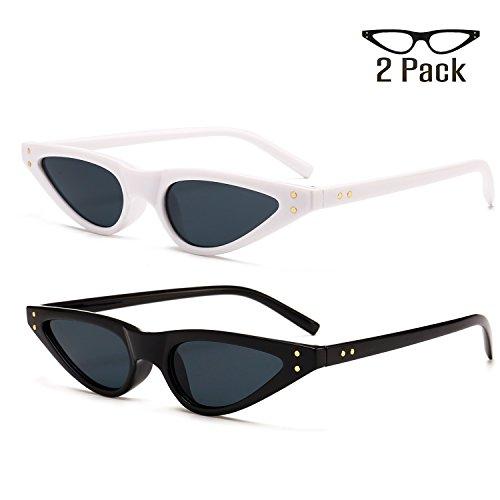 Small Plastic Sunglasses - Bedis 2 Pack Cat Eye Sunglasses For Women Retro Small Designer Eyeglasses BD211 (White gray + Black gray, 35)