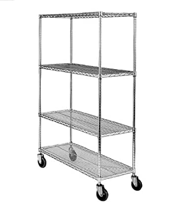 """SPG MA Steel Wire Service Cart with Poly Caster, 4 Shelves, Zinc Coated, 800 lbs Load Capacity, 70"""" Height, 36"""" Length x 18"""" Width"""