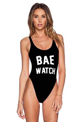 Colde® Donne Sexy Backless BAE OROLOGIO Costume da Bagno Body Beachwear Swimwear del Vestito di Bagno (Dimensioni: M, Nero)