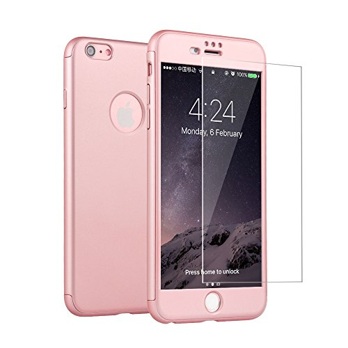 iPhone 6 6s Case, i.Valux [Perfect Fit] 360 Degree All-around Ultra Thin Full Body Coverage Protection Dual Layer Hard Slim Case + Tempered Glass Screen Protector For iPhone 6 6s Pink