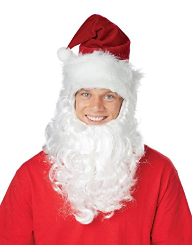 [Fancy Santa Claus Getup Hat with Attached Beard Costume Kit] (Spartan Princess Costumes)
