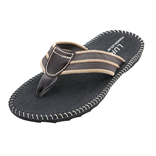 Baymate Men'S Flat Sandals Flip Flops Breathable Beach Shoe Gray WiyzMiT