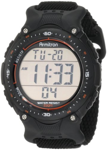 Chronograph Alarm Black Watch (Armitron Sport Men's 408159BLK Chronograph Black Strap Digital Display Watch)