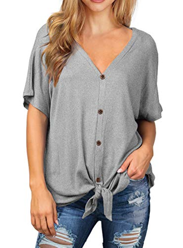 (IWOLLENCE Womens Waffle Knit Tunic Blouse Tie Knot Short Sleeve Henley Tops Loose Fitting Bat Wing Shirts Light Gray 2XL)