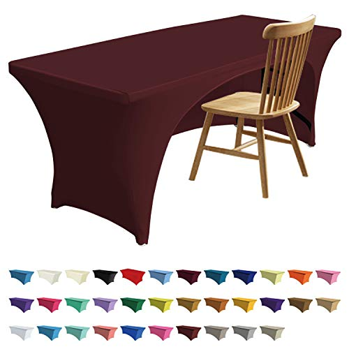 ABCCANOPY Spandex Table Cover 6 ft. Fitted 30+ Colors Polyester Tablecloth Stretch Spandex Table Cover-Table Toppers (6 FT Table Cover Open Back, 2#2 Brown-ABC) (Brown Table Covers)