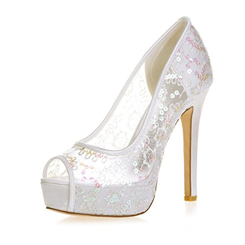 Clearbridal Women's Platform Open Peep Toe Paillette Grenadine Wedding Shoes and Prom Shoes ZXF3128-33 Ivory