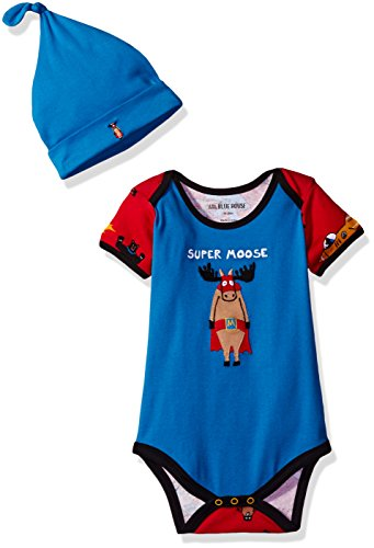 Little Hero Applique - Little Blue House by Hatley Baby Boys' Bodysuit & Cap, Super Heros, 3-6 Months