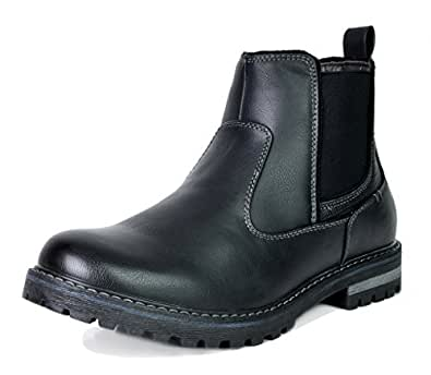 Bruno Marc Men's Engle-03 Black Faux Fur Lined Chelsea Ankle Boots Size 6.5 M US